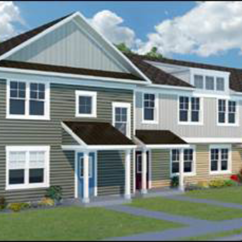 Computer-rendered exterior view of a multifamily home with lawns and trees and a bicyclist