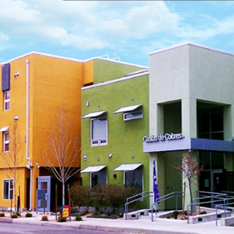 Street level view of the Casitas de Colores complex