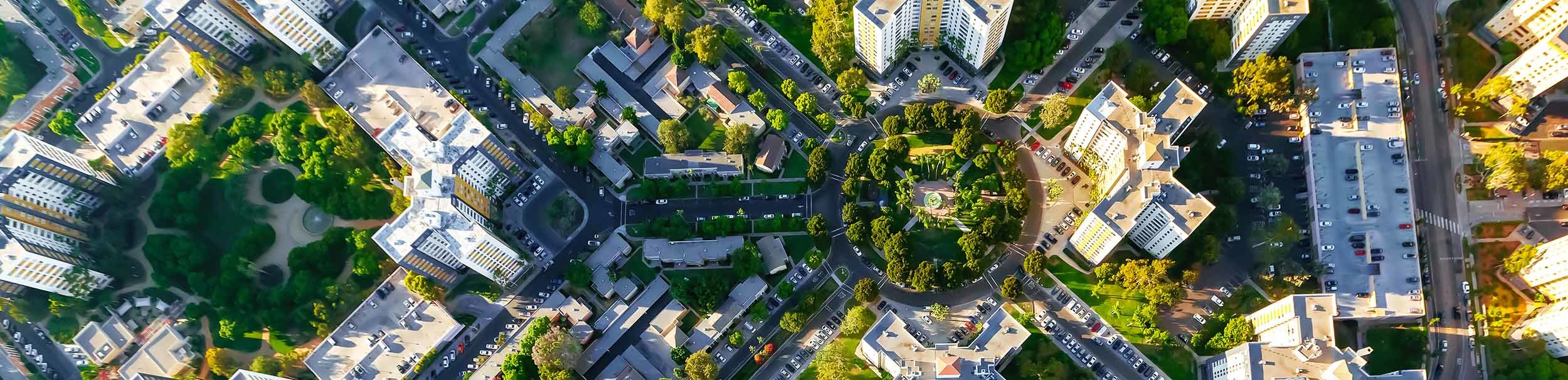 Aerial view of city with trees